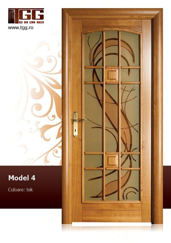 Usa pentru interior din Stejar Masiv Stratificat, finisaj tek, 3/3 geam, ISM-004