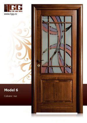 Usa de interior din Stejar Masiv Stratificat, finisaj nuc, 2/3 geam, ISM-006