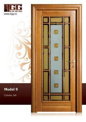 Usa de interior din Stejar Masiv Stratificat, finisaj tek, modern, ISM-009
