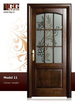 Usa interioara din Stejar Masiv Stratificat, finisaj wenge, 2/3 geam, ISM-011