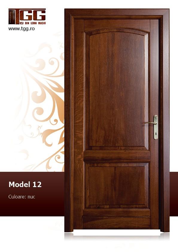Usa de interior din Stejar Masiv Stratificat, finisaj nuc, fara geam, ISM-012