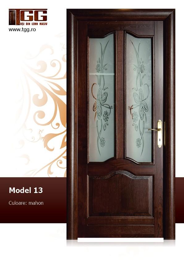 Usa de interior din Stejar Masiv Stratificat, finisaj mahon, 2/3 geam, ISM-013