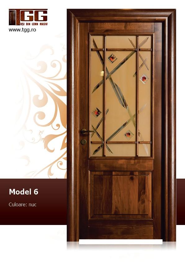 Usa de interior din Tei Masiv Stratificat, finisaj nuc, 2/3 geam, ITM-006