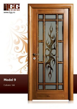 Usa de interior din Tei Masiv Stratificat, finisaj tek, 3/3 geam, ITM-009