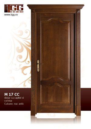 Usa de interior din Stejar Masiv Stratificat, cu pervaz capitel si cornisa, ISM-017CC
