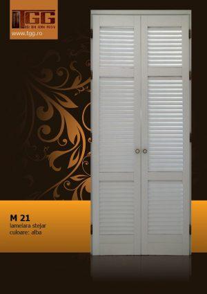 Usa pentru interior din Stejar Masiv Stratificat, finisaj alb, dressing, debara, ISM-021