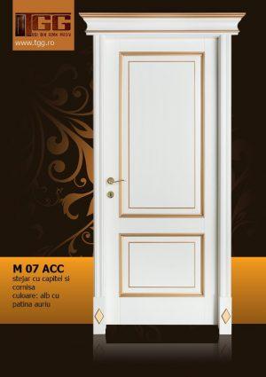 Usa de interior din Stejar Masiv Stratificat, cu pervaz capitel si cornisa, finisaj alb cu patina aurie ISM-07ACC