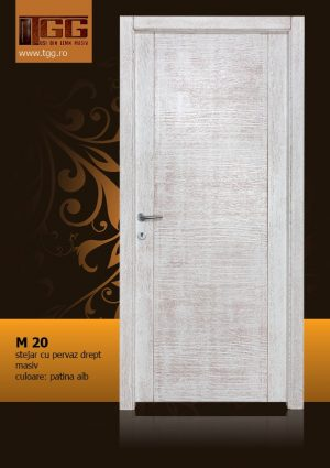 Usa de interior din Stejar Masiv Stratificat, cu pervaz drept masiv, finisaj alb cu patina, ISM-020