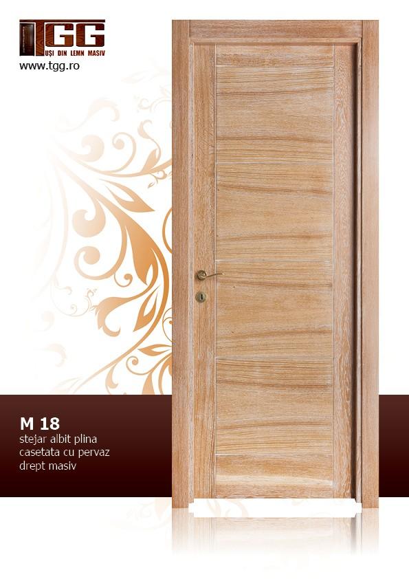 Usa de interior din Stejar Masiv Stratificat, cu pervaz drept masiv, finisaj stejar albit, plina casetata ISM-018