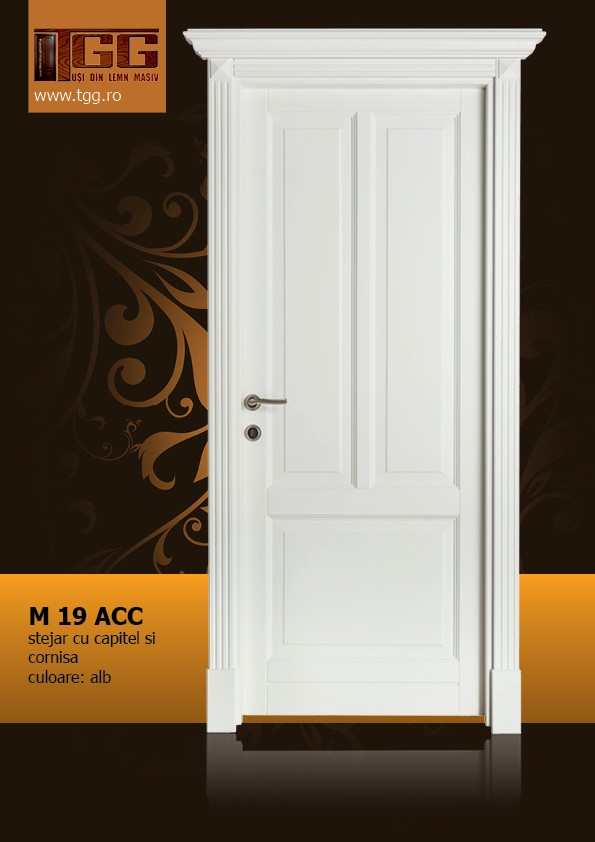 Usa de interior din Stejar Masiv Stratificat, cu capitel si cornisa, finisaj alb, ISM-019ACC