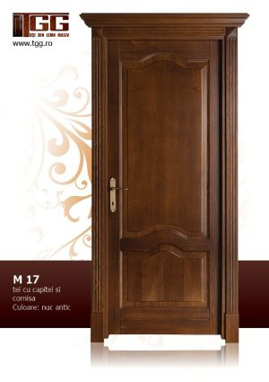 Usa de interior din Tei Masiv Stratificat, cu capitel si cornisa, finisaj nuc antic, ITM-017
