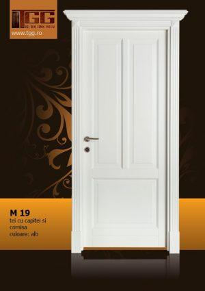Usa de interior din Tei Masiv Stratificat, cu capitel si cornisa, finisaj alb, ITM-019