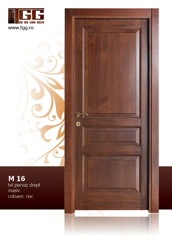 Usa de interior din Tei Masiv Stratificat, cu pervaz drept masiv, finisaj nuc, ITM-016