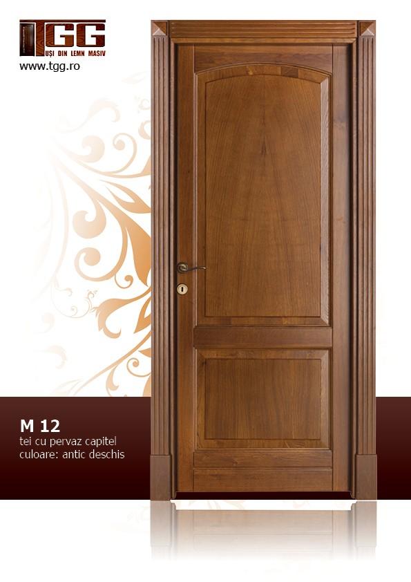 Usa de interior din Tei Masiv Stratificat, cu pervaz capitel, finisaj antic deschis, ITM-0121