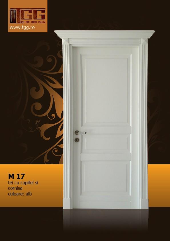 Usa de interior din Tei Masiv Stratificat, cu capitel si cornisa, finisaj alb, ITM-0171