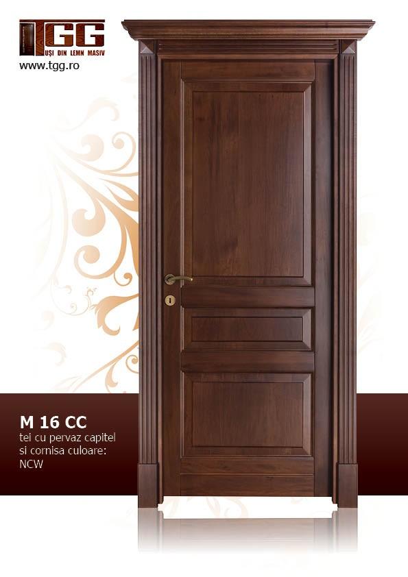Usa de interior din Tei Masiv Stratificat, cu pervaz capitel si cornisa, finisaj NCW, ITM-016CC