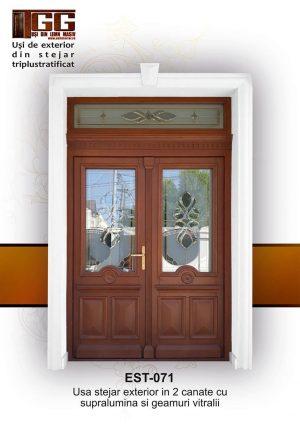 Usa stejar exterior in 2 canate cu supralumina si geamuri vitralii, EST-071