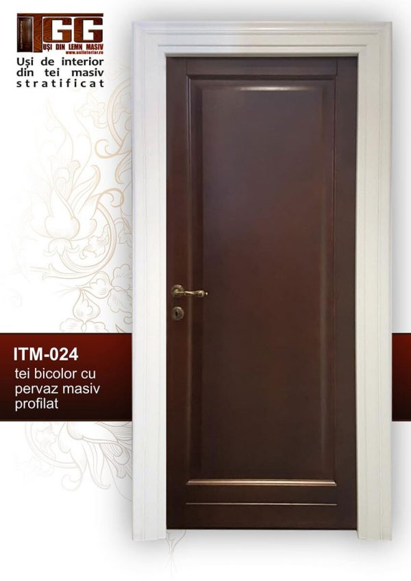 Usa pentru interior din tei bicolor cu pervaz masiv profilat, ITM-024