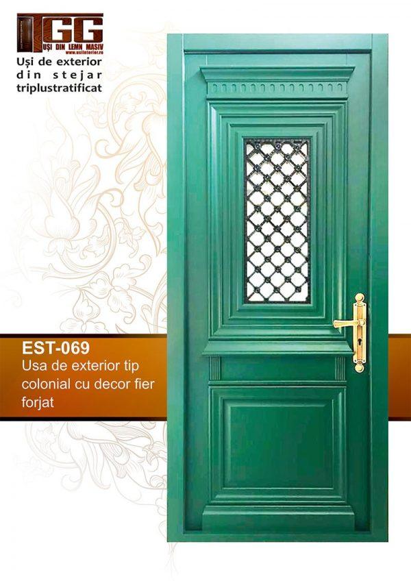 Usa exterior tip colonial cu decor fier forjat - EST 069