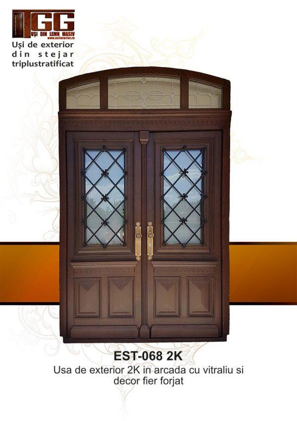 Usa exterior cu supralumina si decor fier forjat - EST 068